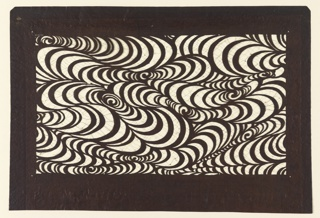An abstract rippling wave motif contains curves ranging from big to small in scale which organically envelope and nest within the crevices. Four punchture marks are located on the corners of the stencil's boarder.