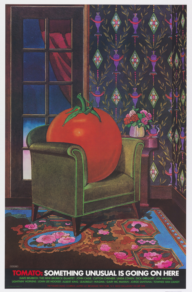 Full-page color illustration of giant tomato sitting in green armchair in room with floral rug in foreground, decorative wallcovering and window in background. Beneath image is text listing various musical groups.