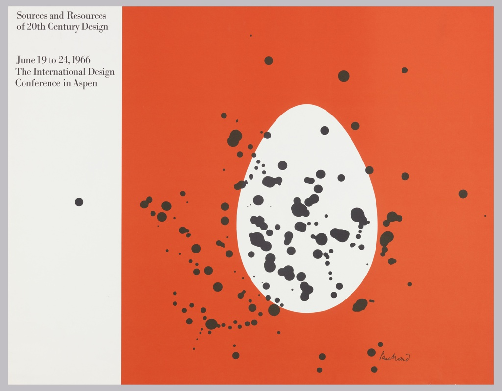Poster design 20th century - Against Red Background Right Side Of Sheet A White Egg Shape Spattered With