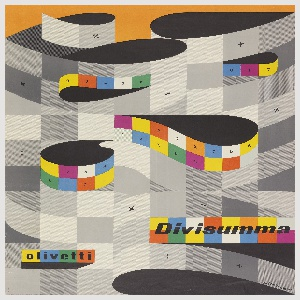 Multicolored poster advertising the Divisumma adding machine by Olivetti. Design consists of stylized printing ribbons in tones of grays interspersed with squares of vivid color. Small typographic forms appear randomly on several of the gray squares and more consistently on the colored ones.