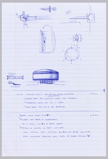 Drawing, Preparatory Drawing for Nest Thermostat: Proposed Design for Integration of Back Plate into Head Unit