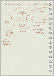 Preparatory drawing for thermostat manufactured by Nest Labs, Inc. Design for thermostat with annotations. Verso: back cover details with annotations.