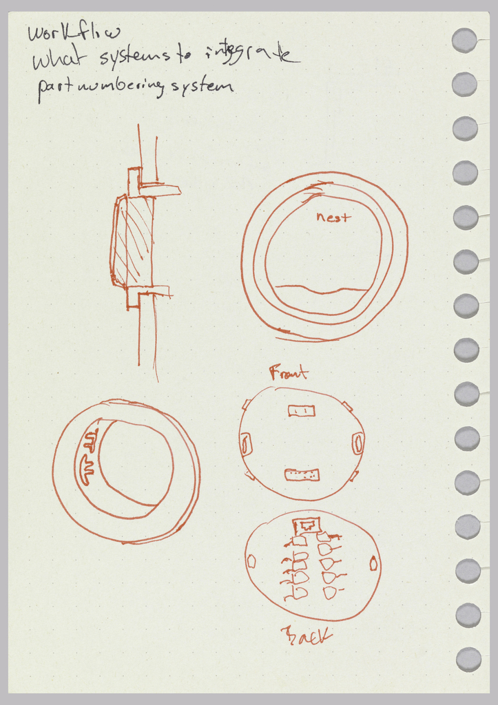 Preparatory drawing for thermostat manufactured by Nest Labs, Inc. Design for thermostat with annotations, profile and back views. Verso: design and annotations.