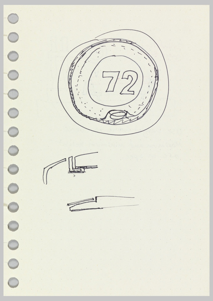 Front view of thermostat, showing 72. Verso: Design for gauge block.