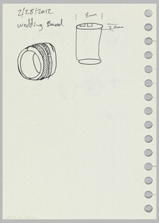 Design for thermostat in sections with wiring. Verso: additional designs