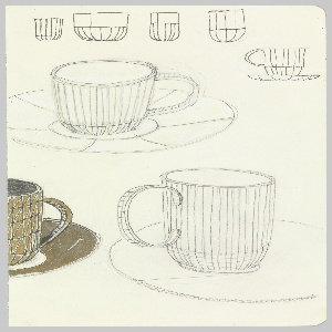 Concept drawing across two sheets featuring multiple sketches of four variations of cups, including coffee, tea, espresso, and mug for the Paper Porcelain series.