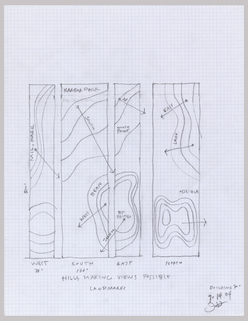 Sketch of the initial topography around the site of the Aqua tower