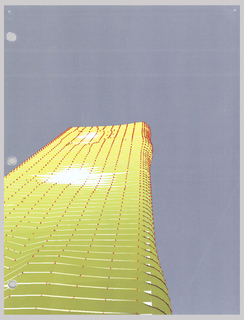 Digital print of early 3D model of Aqua Tower showing the different layers of the building, three holes along left edge of paper.