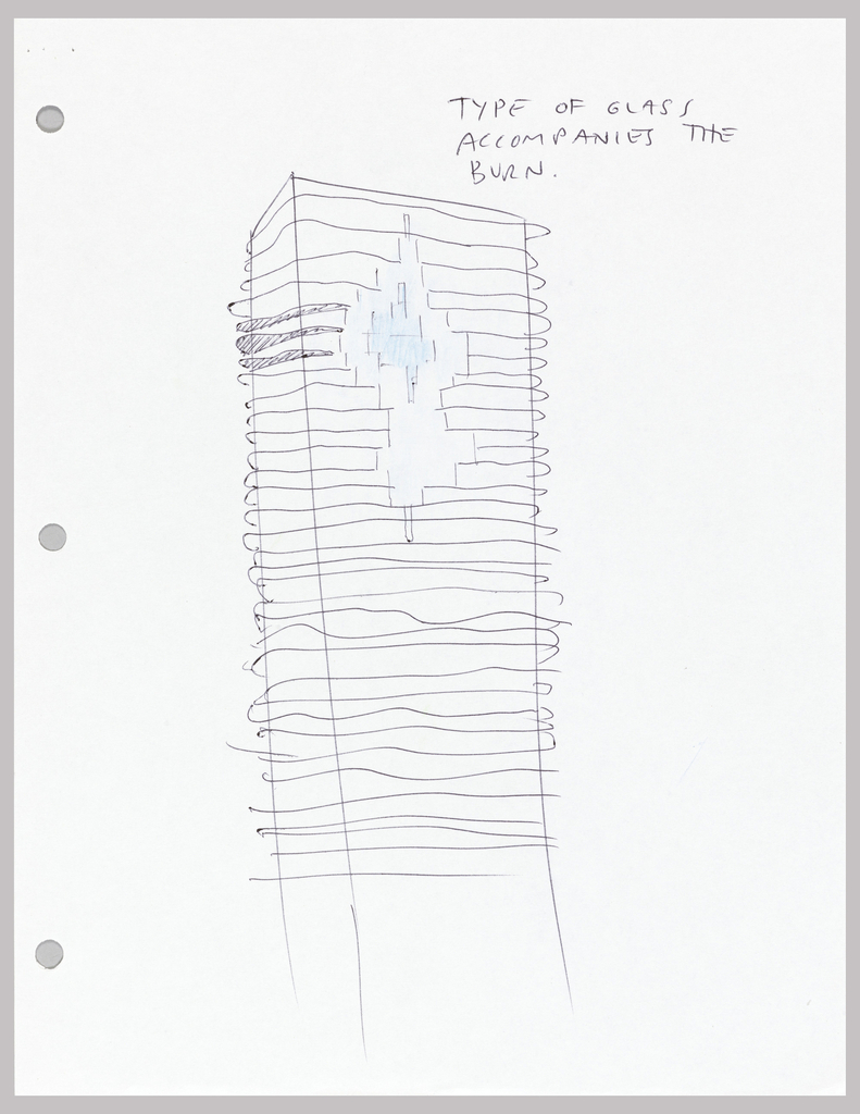 "Sketch of a portion of the exterior of Aqua Tower where slabs are flush with the glass, called ""pools"""