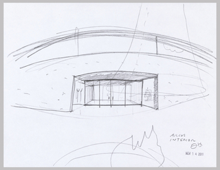 Sketch of entry interior for Arcus Center for Social Justice Leadership Building