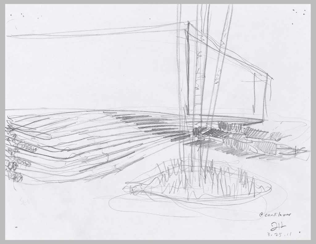 Sketch of cantilever wing ground treatment of Arcus Center for Social Justice Leadership Building