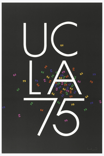 "On black ground, across upper center in white: UC; and across center: LA; across lower center: 75. Scattered as if exploding from center (LA) small, in varying colors, green, blue, fuscia, red, and orange: ""75s"""