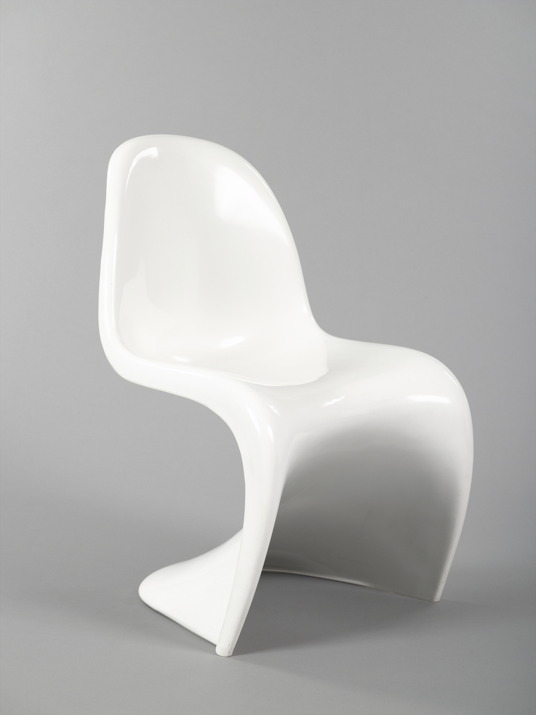 White, single-piece form of roughly S-shaped curved and contoured back, seat and cantilever base.