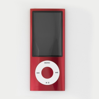Vertical rectangular form of red aluminum with large rectangular screen above circular white click wheel with control symbols.
