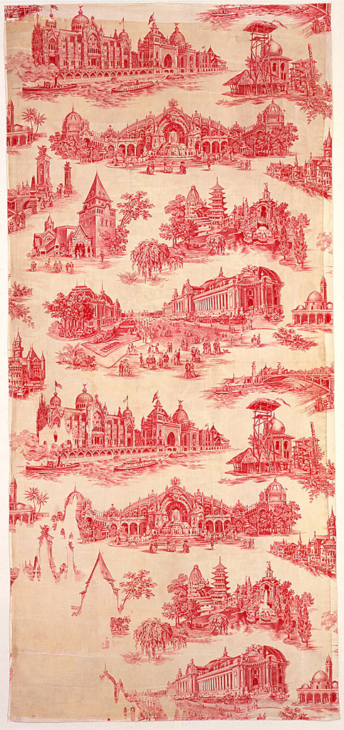 Nine scenes of L'Exposition Universelle de 1878 in red using full width of fabric.