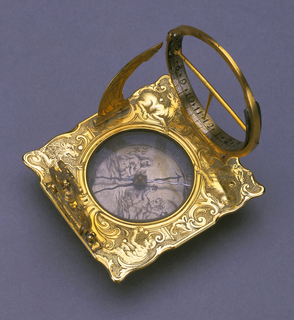 Scrolled square frame with animal allegories of the Four Continents: camel, horse, lion and monkey; hinged quadrant, hour circle with gnomon and pendulum; in center, recessed circular box with compass needle, the face engraved with mermaid and triton; set on three adjustable legs.