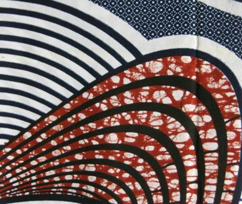 Curving disks filled with concentric circles on a background of small dots. Printed in indigo and red on a white ground.