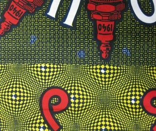 Center rectangular field with a woman in a circle in the center surrounded by six radiating spark plugs and the words 6 BOUGIES. Wide outer border of sixes on an op-art gridded background. Printed in blue, yellow and red on a white ground.