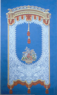 Large-scale window shade printed in imitation of lace. Suspended from a cornice, with a voided center containing a basket of flowers and two tassels, the bottom of the lace curtain is trimmed with a bullion fringe and tassels. Printed on brilliant blue background. Verso is printed same blue color.