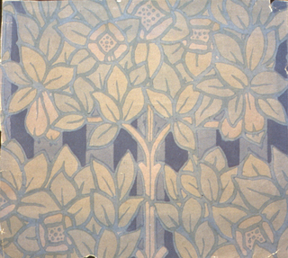 Art nouveau floral and foliate in large scale, printed in shades of blue.