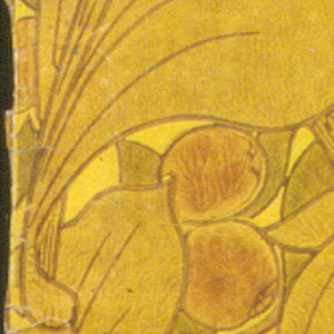 Quinces on heavy branches, acanthus leaves, in art nouveau style. Printed in rusty orange, brown, gold, light olive and olive.