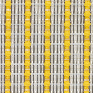 Translucent stretch mesh in clear yarns with a vertical pinstripe of brilliant yellow. Color: Cadmium Yellow.