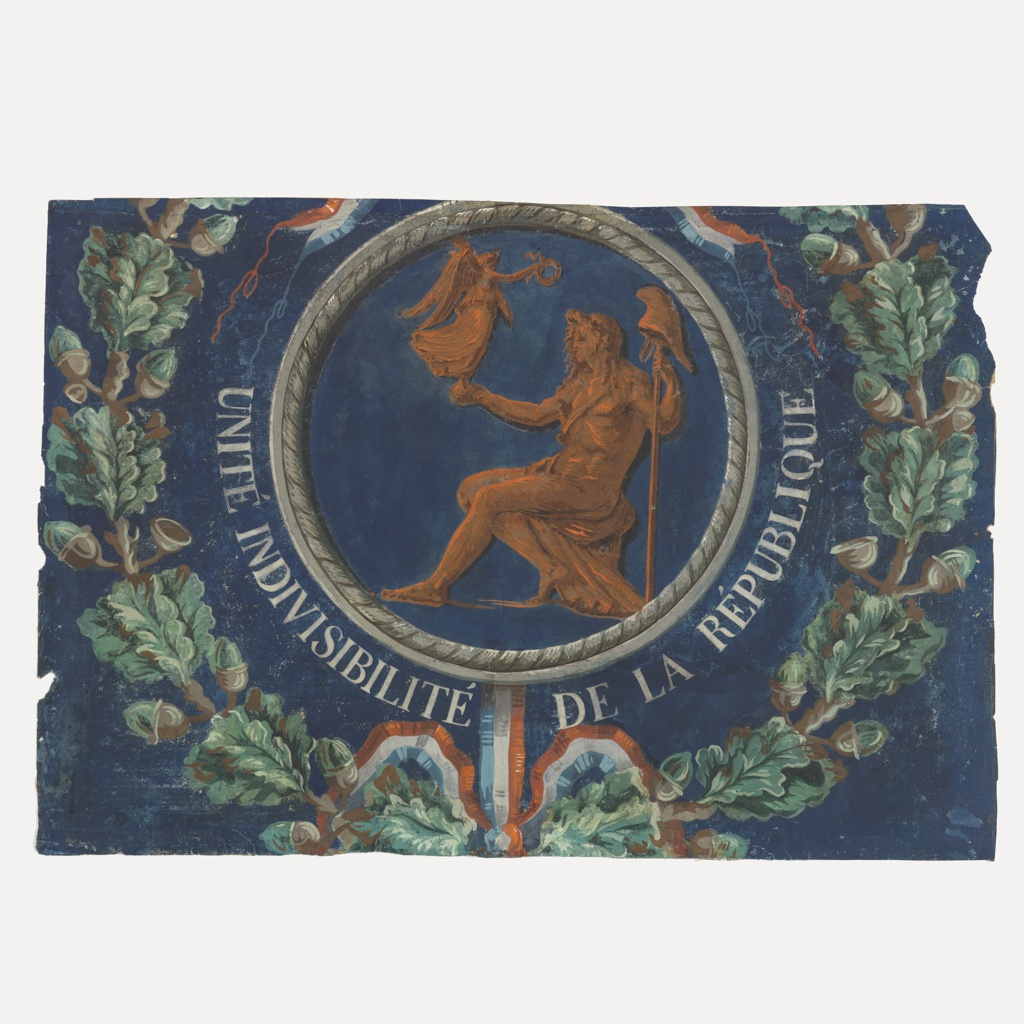 "Horizontal rectangle, with portion of circular motif. An oak wreath, on dark blue field, surrounds a circular medallion with gray frame containing seated female figure; she leans upon a staff surmounted by a Liberty Cap, and holds in her right hand a small figure of Victory proffering a wreath. Around part of the circumference of the medallion is the motto: ""Unite Indivisibilite de la Republique."" Designed for the French Revolution. The seated female figure is presumably Marianne or Liberty."