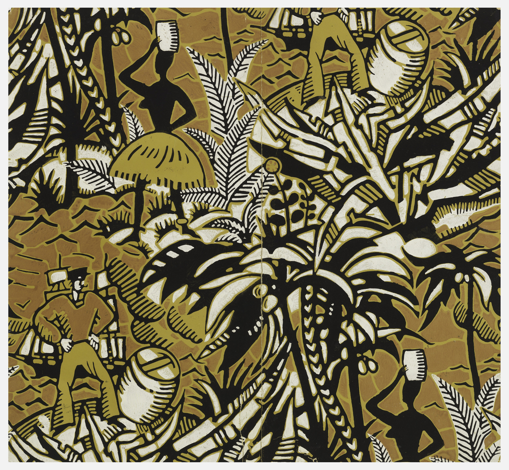 Designed in a bold woodcut technique. Tropical scenes showing a black female figure in a grass skirt, her arms balancing a keg placed on her head; a pipe-smoking sailor, hands on hips, standing next to a barrel, against a distant sailing ship. Both scenes surrounded by tropical foliage, coconut palm trees and water. Printed in ochre, sienna, black and white.