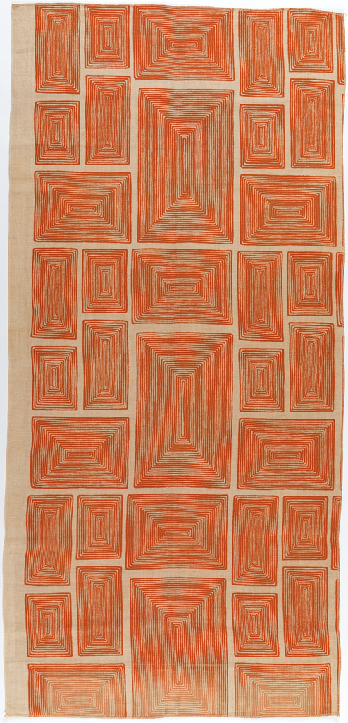 Length of printed linen with orange rectangles composed of concentric lines, on a natural-colored ground.