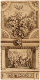 Drawing, Study for Staircase Decoration, Hanbury Hall, Worchestershire:  Achilles Revealing his Identity in the Palace of Lycomedes