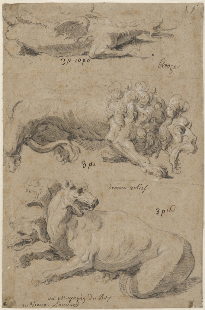 Renderings of three bronze animal sculptures. Upper, dragon turned to the right; center, lion with open mouth turned to the right; lower, three-headed creature turned to the left.