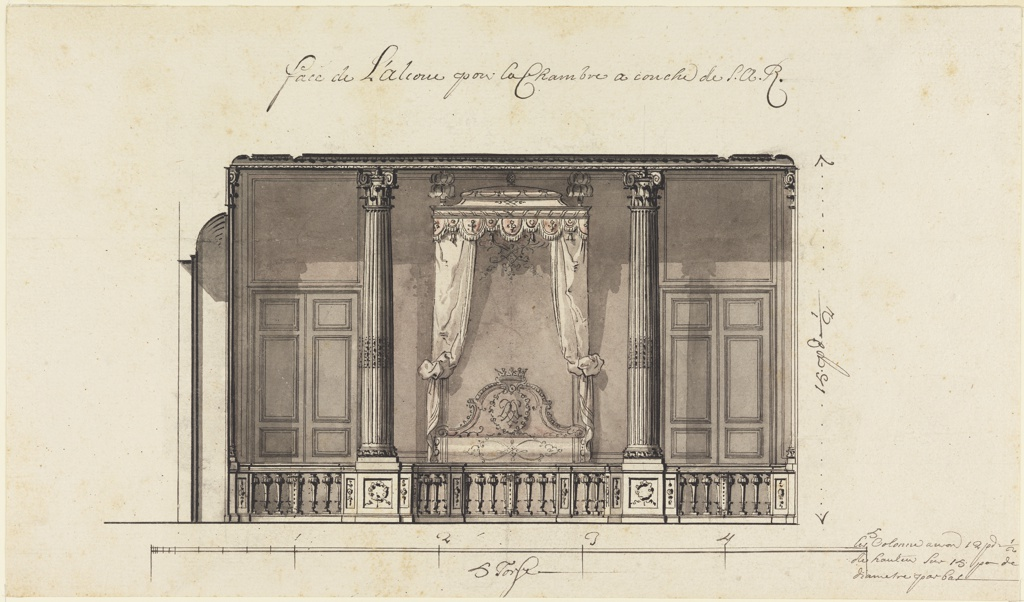 Alcove seen in elevation frontally, with bed à la duchesse (no footboard and canopy supported from the ceiling) enclosed by a balustrade which supports two fluted and gilded composite columns. The state bed shows the cypher of the Regent, Philippe Charles, Duc d'Orleans. The height is indicated at the right.