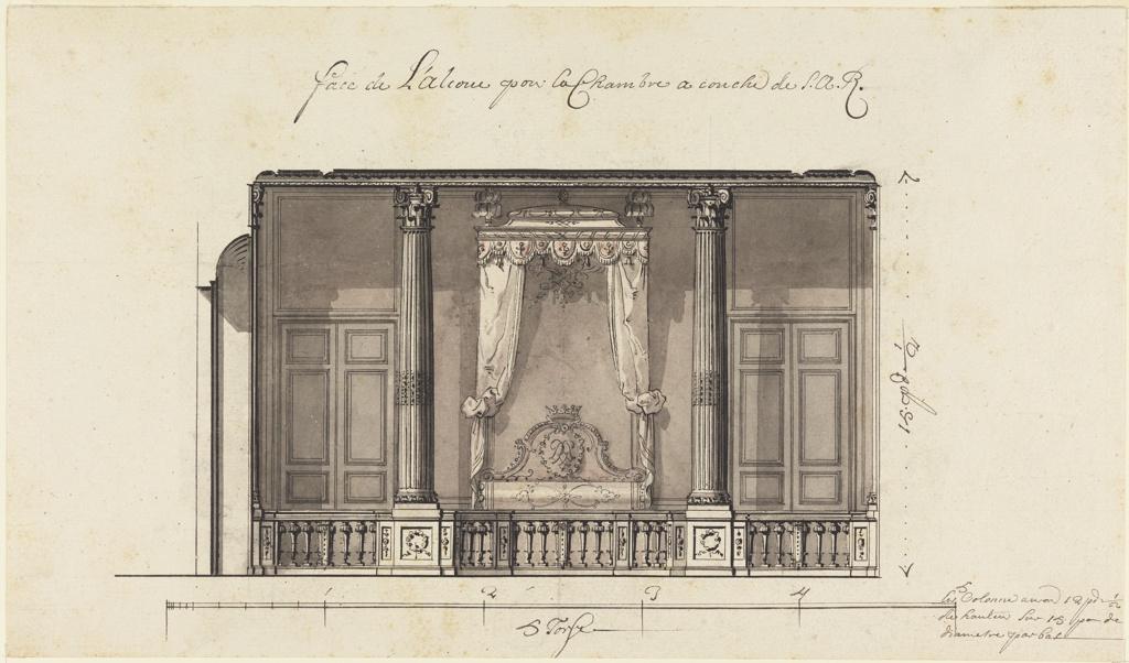 Drawing, Bed Alcove for the Duc d'Orléans, Palais Royal, Paris, France