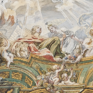 The central area is taken up with simulated sky with the chariot of Apollo.  Around the edges, allegorical figures seated on clouds; simulated architecture of vaults and pendentives about the outer edges, within an architectural frame.