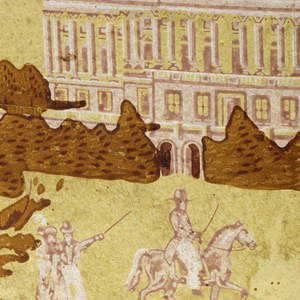 View of the old capitol of Washington, with other buildings; figures in foreground. Printed in olive, pink and white on yellow field.