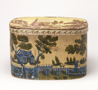 Box has yellow field with brown, blue and green printing representing a canal in a landscape. Top does not belong with box. Printed in browns, with a tempietto.
