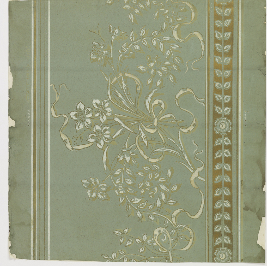Wide frieze containing white and gold flowers tied with white ribbon, gold and white stylized floral and leaf banding at bottom, printed on pale green ground.