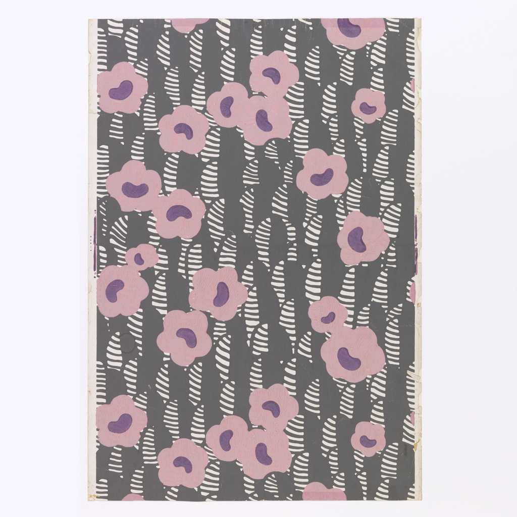 Printed for Nancy McClelland of New York City. A highly stylized design of single five to six petalled flowers in pink with mauve centers. Leaves are gray and white horizontal stripes. Printed in pink, mauve and white on slate gray field.