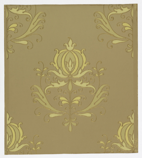 """A conventionalized balanced design. A floral motif. The design is finely embossed with parallel lines while the entire outline is highly embossed in gilt and resembles tooled leather. Marked on margin is """"3475""""."""