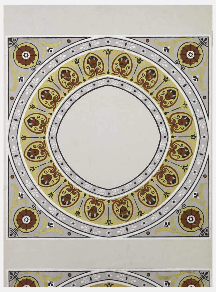 Wallpaper center for ceiling. One large square motif, containing a flattened circle composed of several ornamented bands, with roundels at corners.