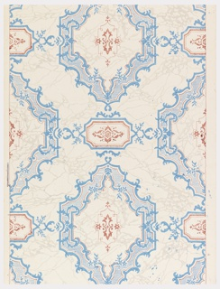 Against an ungrounded off-white paper marbled with pale gray veins, are printed regularly spaced large, scrolled medallions in light blue with linear details printed in red. Small red medallions are centered within and printed between the larger medallions.