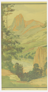 Landscape scene with mountain range in the background, trees and hills in the middle ground and rock formation and more trees in the foreground. Printed in earth tones and greens.