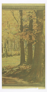 Group of 3 large trees in foreground, then a small clearing and a forest in the background. There is an egg and dart molding across the top edge of the design. Horizontal lines run the full length of the piece.