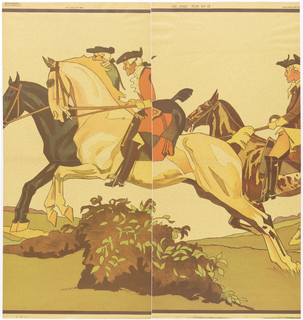 "a) The back ends of the 2 horses in ""b"" plus a third horse and rider. Printed on a mottled tan ground; b) the front ends of 2 horses, one black the other light, with 2 riders. Printed on a mottled tan ground."