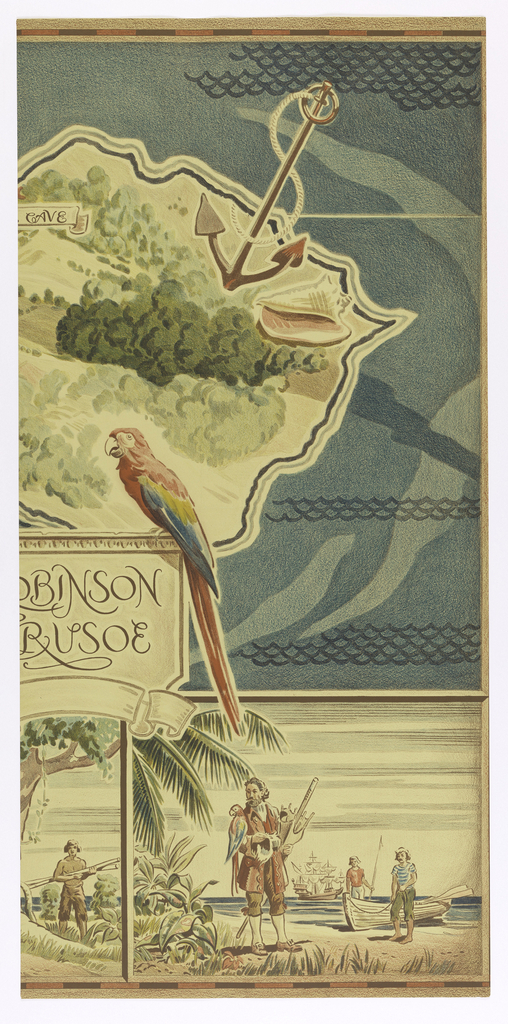 Part of a map featuring the lefend of Robinson Crusoe. a) the left panel contains compass and b) contains large red parrot sitting on sign in middle.