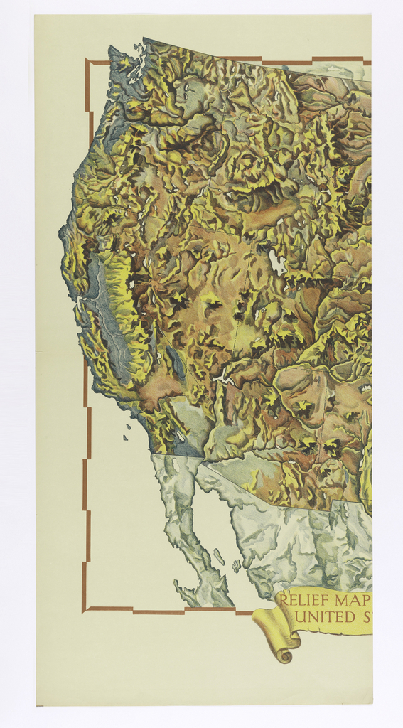 Scenic Panel Relief Map Of The United States 193040 Objects - Us-map-1930