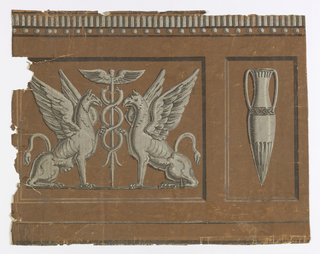 Alternating panels of gryphons and urns, printed in browns and whites on deep rust.