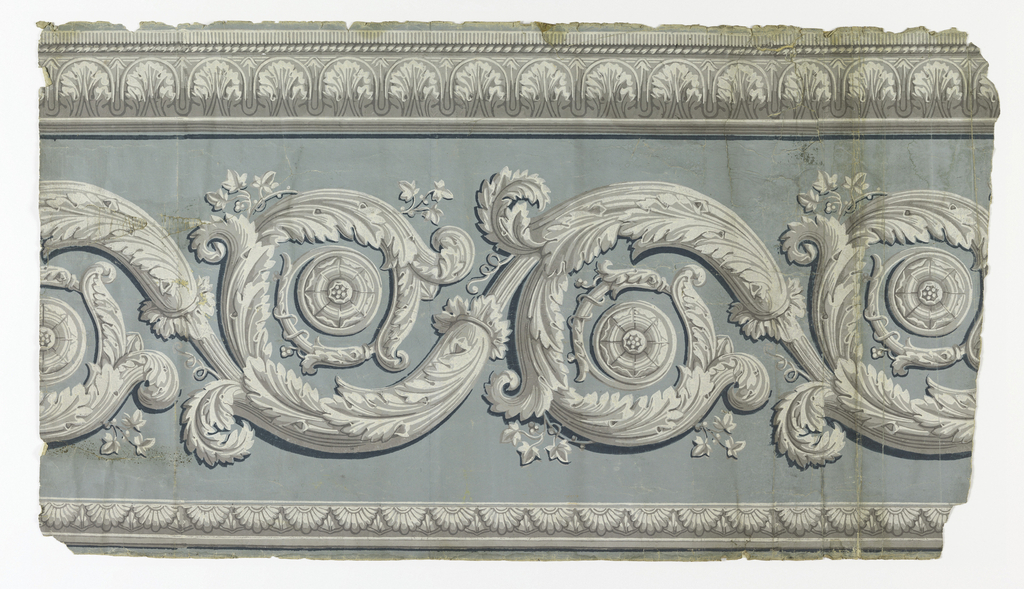 Wide acanthus rinceau at bottom of frieze, with narrow leaf and dart border at top, printed in grisaille on gray-green ground.  H# 357