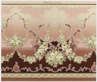On pink ground with shading, roses in shades of yellow, cream with green foliage, mica, scrollwork, maroon ornament.