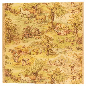 """Children's paper with farm scenes, including plowing the fields, bailing hay, woman milking cow, and horses in pasture. Printed in selvedge: """"Sanitary Wall Paper""""."""